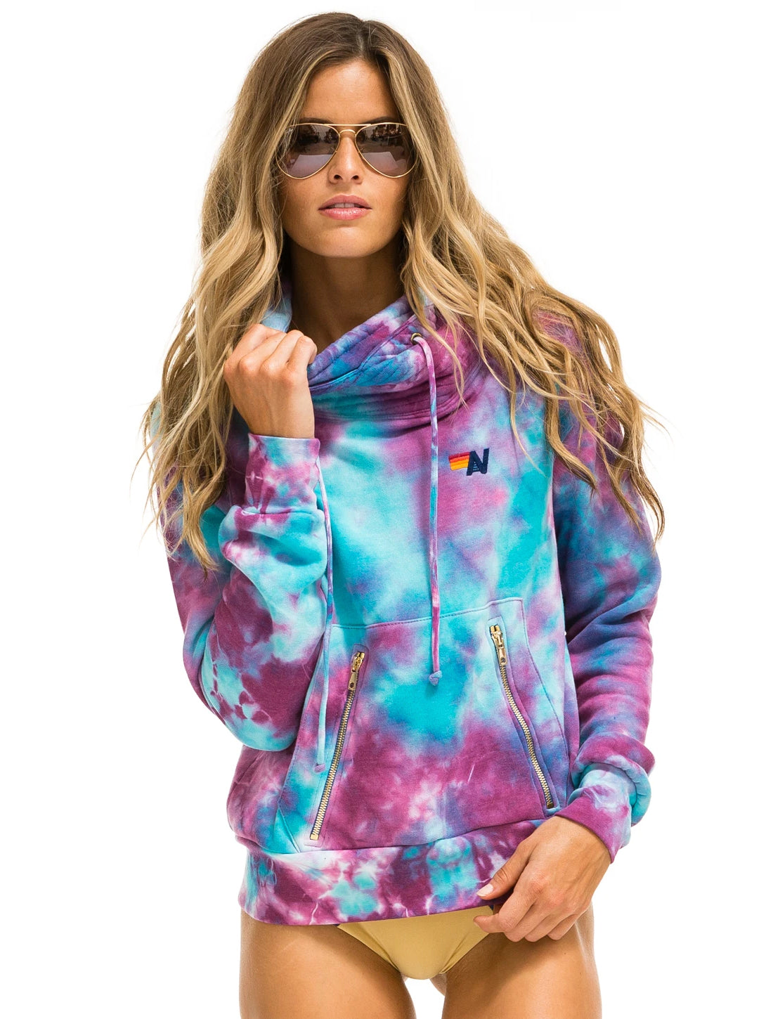 Ninja Pullover Hoodie - Tie Dye Turquoise-AVIATOR NATION-Over the Rainbow
