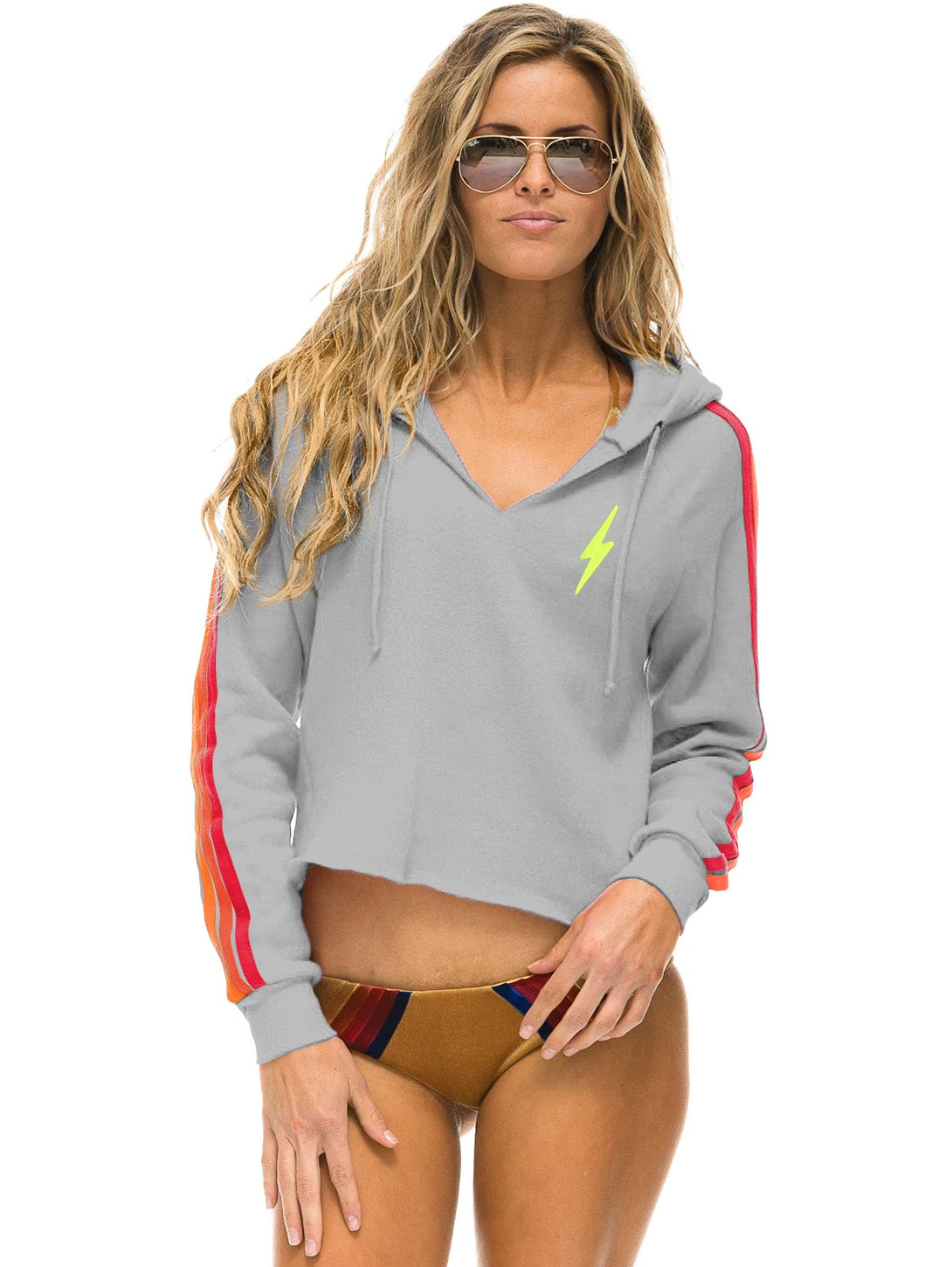 Classic 4 Stripe Bolt Split Neck Crop Hoodie - Light Grey/Neon-AVIATOR NATION-Over the Rainbow