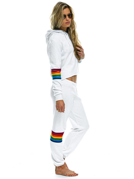 Rainbow Stripe Sweatpant - White-AVIATOR NATION-Over the Rainbow