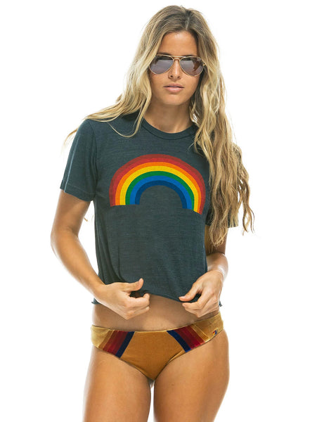 Rainbow Crop Boyfriend T-Shirt - Charcoal-AVIATOR NATION-Over the Rainbow