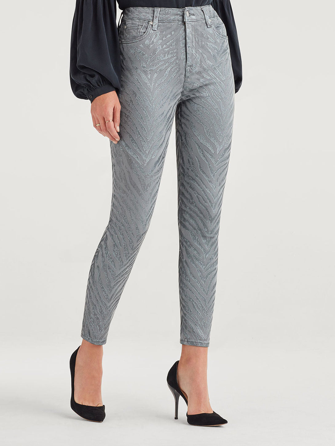 High Waist Ankle Skinny Jean - Metalic Zebra-Seven for all Mankind-Over the Rainbow