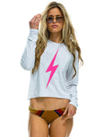 Bolt Crop Boyfriend Long Sleeve Top - Vintage White-AVIATOR NATION-Over the Rainbow