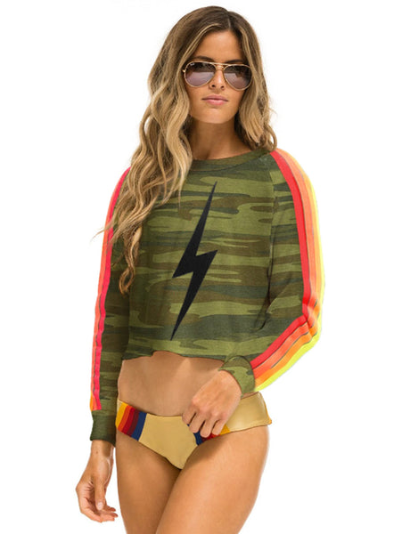Bolt Stitch Classic 4 Stripe Cropped Crew Sweatshirt - Camo/Neon-AVIATOR NATION-Over the Rainbow
