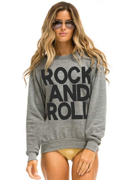 Rock And Roll Sweatshirt - Heather Grey-AVIATOR NATION-Over the Rainbow