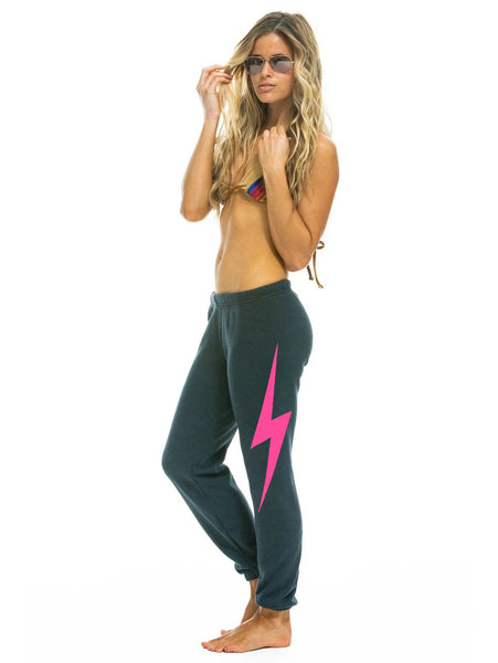 Bolt Sweatpant - Charcoal/Neon Pink-AVIATOR NATION-Over the Rainbow