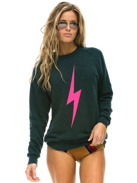 Bolt Crew Sweashirt - Charcoal/Neon Pink-AVIATOR NATION-Over the Rainbow