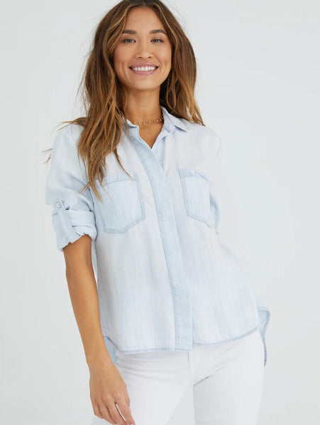 Split Back Button Down Shirt - Desert Sky-Bella Dahl-Over the Rainbow