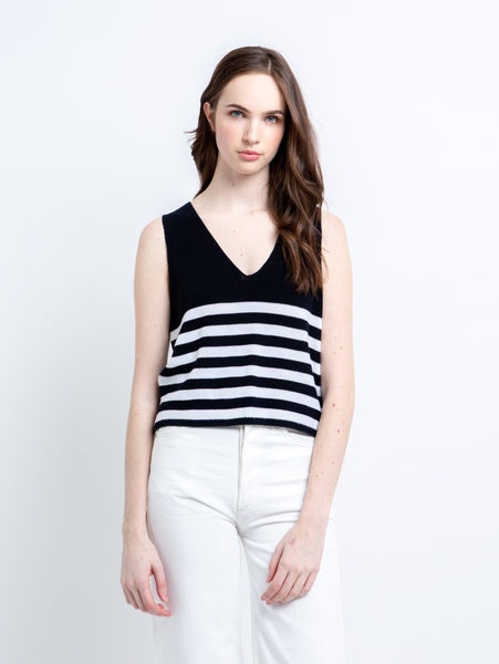 V Neck Striped Tank Top-AUTUMN CASHMERE-Over the Rainbow
