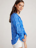Tie Dye Hipster Button Down Shirt - Blue-Bella Dahl-Over the Rainbow