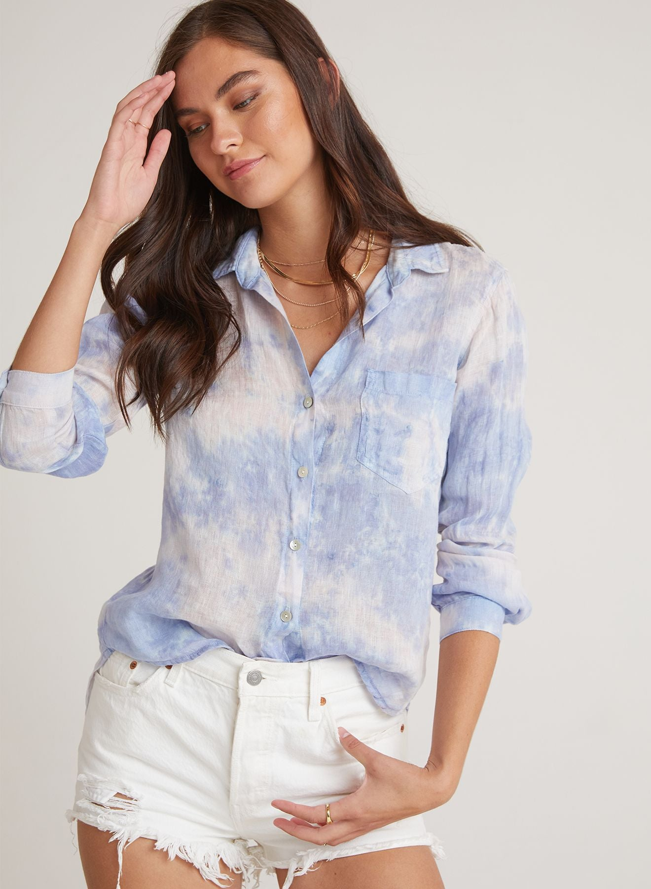 Linen Pocket Button Down Shirt - Galaxy-Bella Dahl-Over the Rainbow