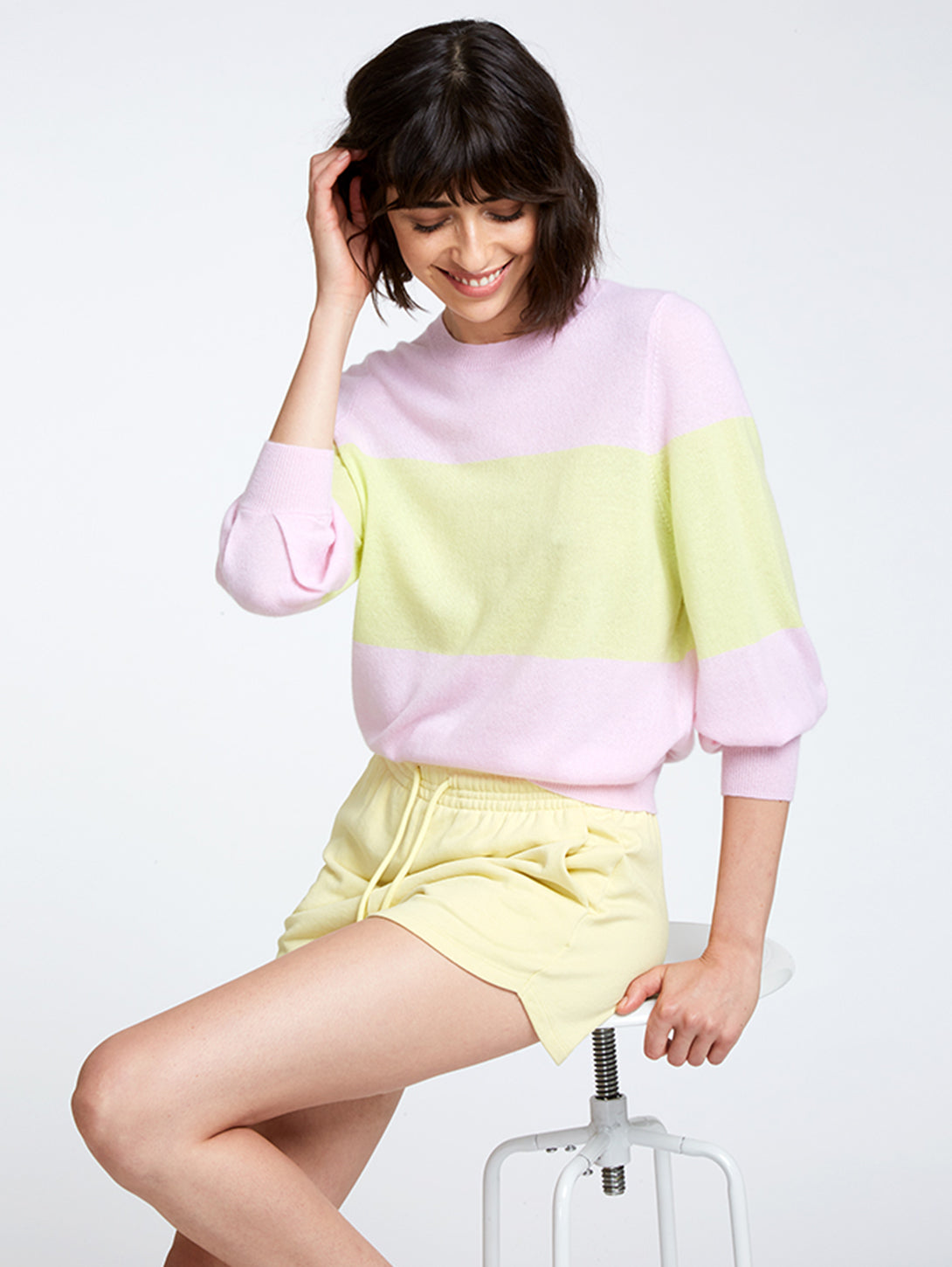 Colour Block Puff Sleeve Crew Cashmere Sweater-AUTUMN CASHMERE-Over the Rainbow