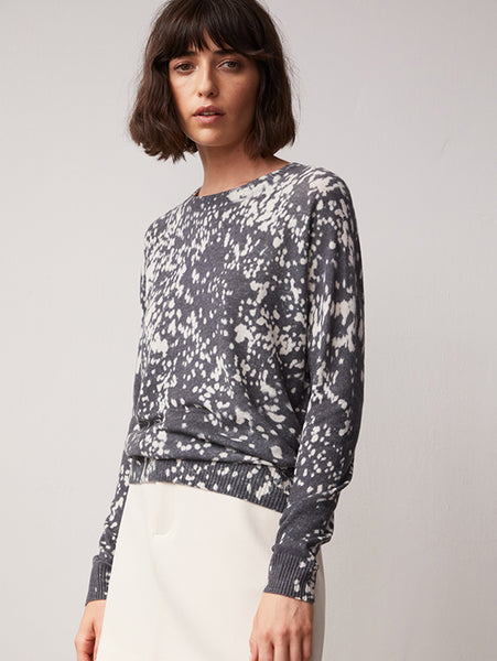 Bleached Print Crew Cashmere Sweater-AUTUMN CASHMERE-Over the Rainbow