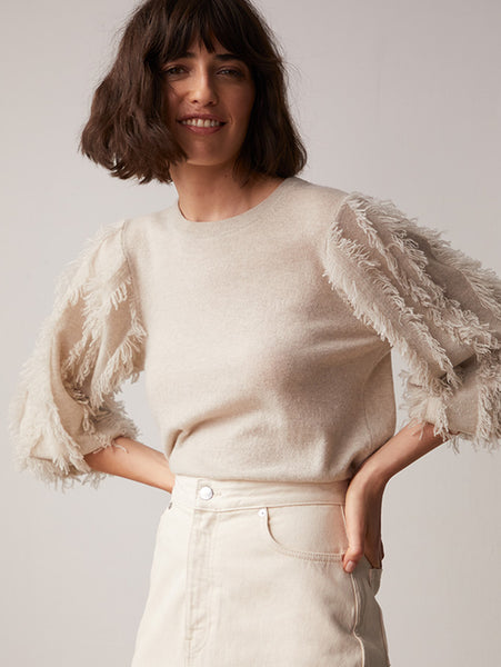 Frayed Puff Sleeve Crew Cashmere Sweater-AUTUMN CASHMERE-Over the Rainbow