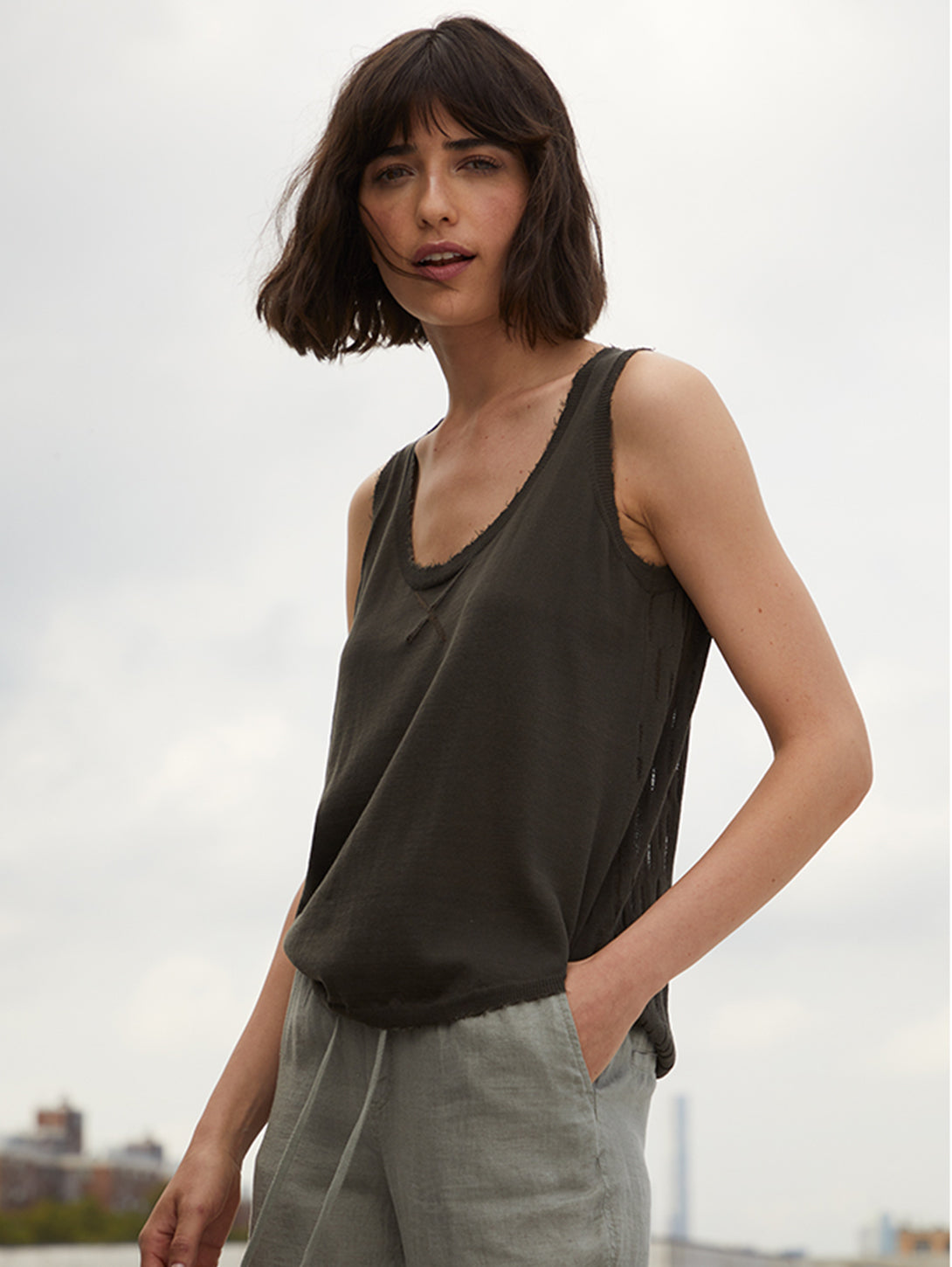Ladder Stitch Back Tank Top-AUTUMN CASHMERE-Over the Rainbow