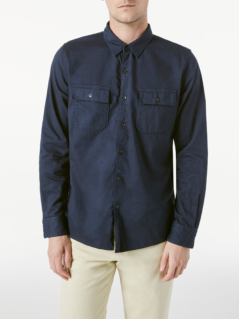 Double Pocket Long Sleeve Button Down Shirt - Navy-FRAME-Over the Rainbow