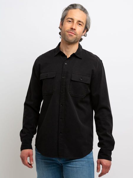 Double Pocket Long Sleeve Button Down Shirt - Noir-FRAME-Over the Rainbow