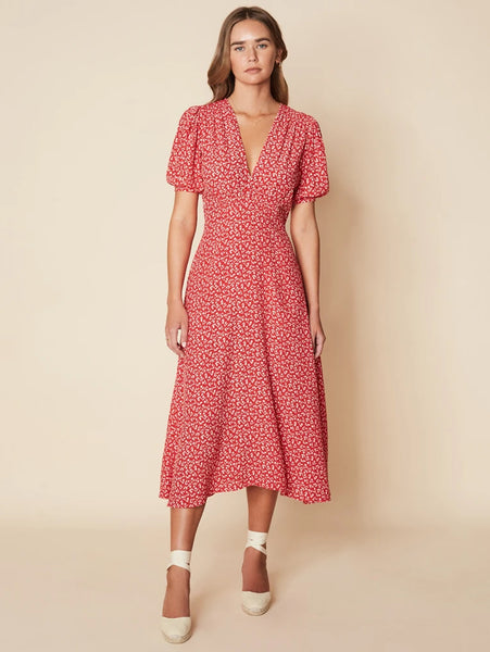 Sonja Midi Dress Maddy Floral Print - Vintage Red-FAITHFULL THE BRAND-Over the Rainbow