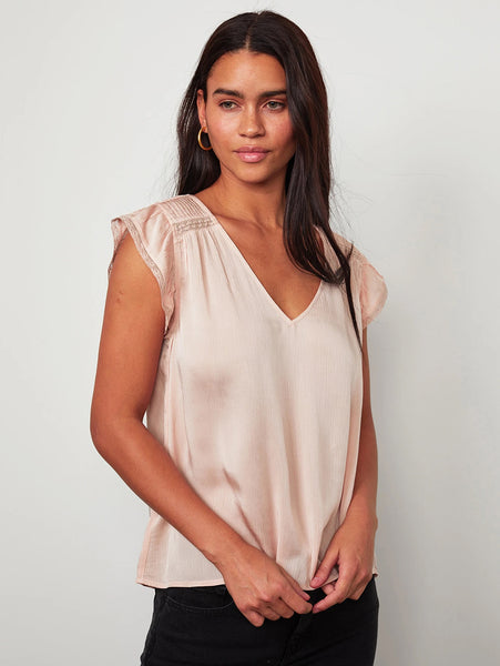 Isabelle V Neck Sleeveless Top-Velvet-Over the Rainbow