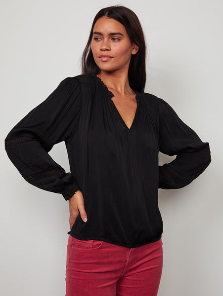 Kimmie Long Sleeve Peasant Top-Velvet-Over the Rainbow