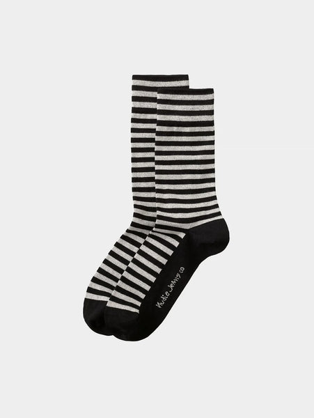Olsson Breton Stripes Socks - Black-Nudie Jeans-Over the Rainbow