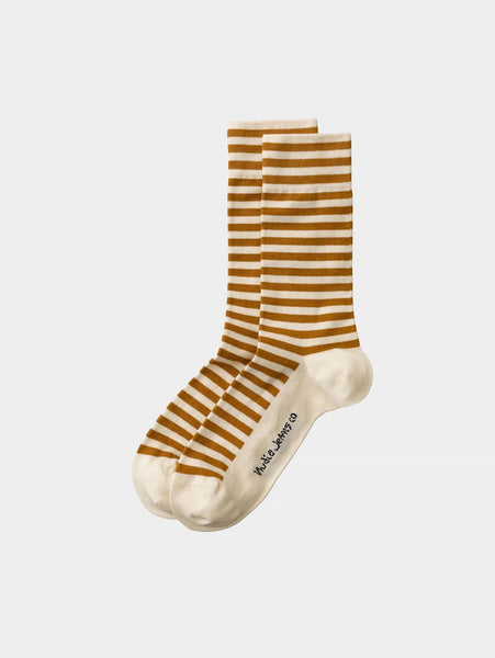 Olsson Breton Stripes Socks - Cinnamon-Nudie Jeans-Over the Rainbow