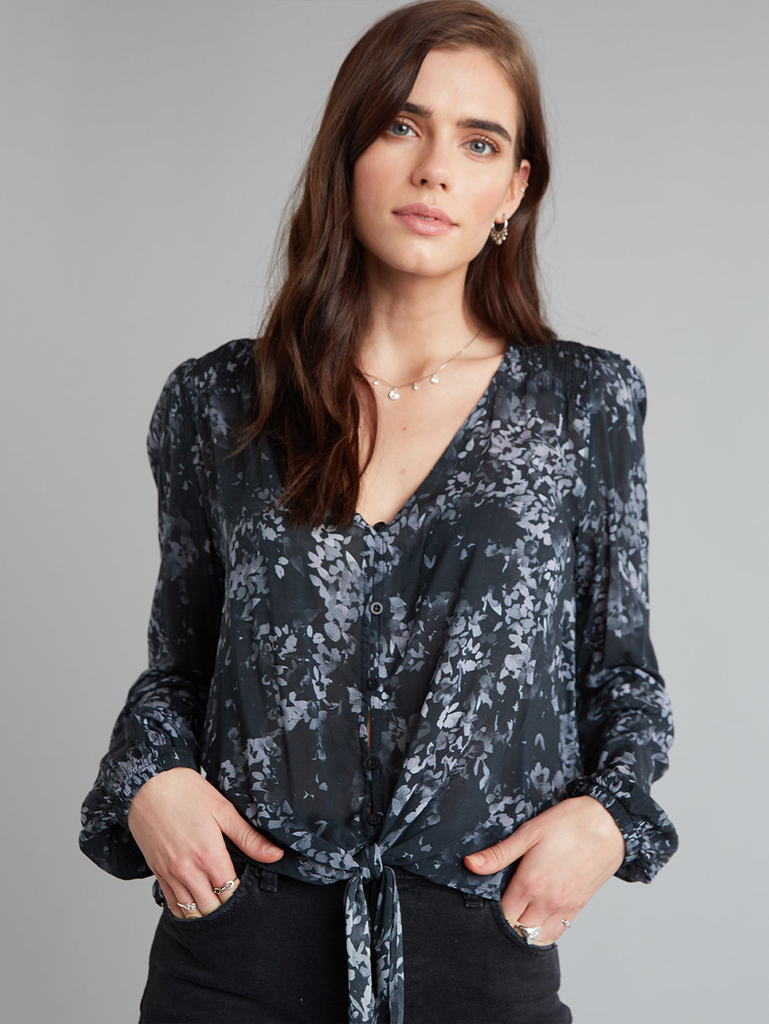 Floral Bishop Sleeve Tie Front Shirt-Bella Dahl-Over the Rainbow