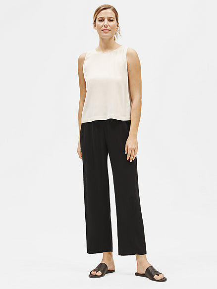 System Silk Georgette Crepe Straight Ankle Pant-EILEEN FISHER-Over the Rainbow