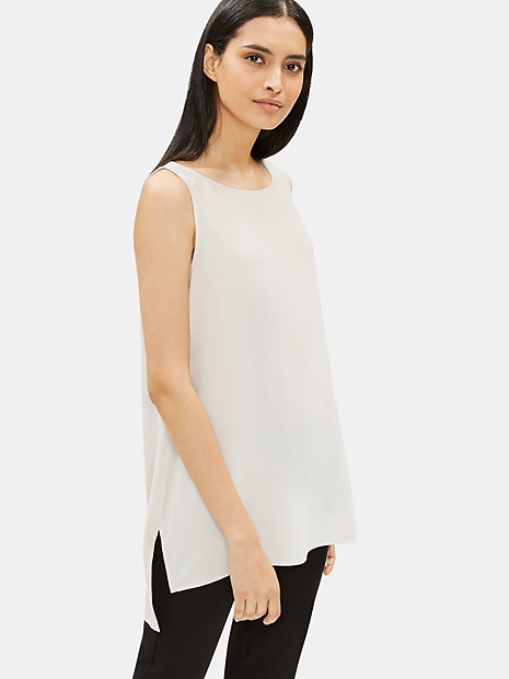 System Silk Georgette Crepe Long Shell Top-EILEEN FISHER-Over the Rainbow
