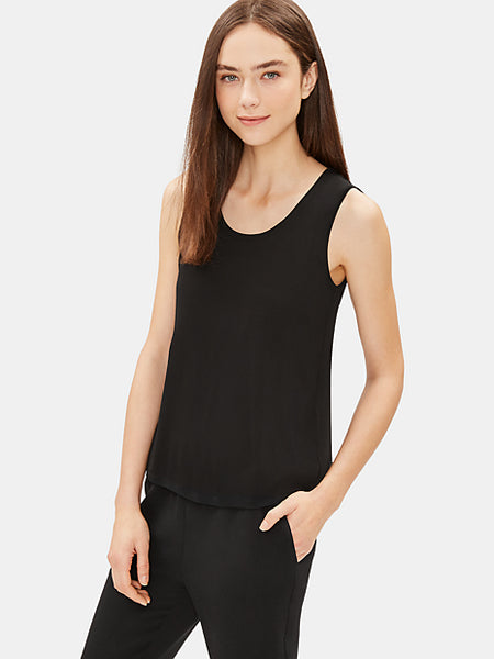 System Silk Jersey Short Shell Top-EILEEN FISHER-Over the Rainbow