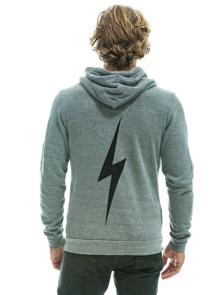 Bolt Zip Hoodie - Heather Grey-AVIATOR NATION-Over the Rainbow