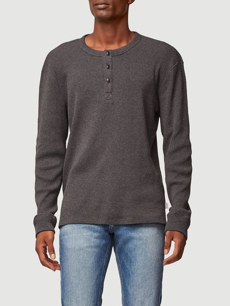 Long Sleeve Waffle Henley Top - Charcoal Heather-FRAME-Over the Rainbow