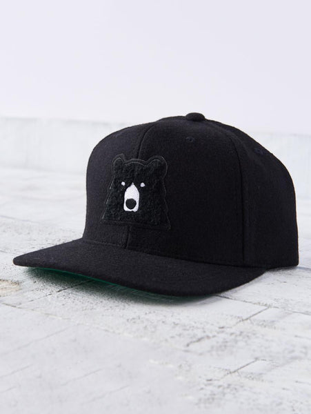 Melton Snapback Hat - Black with Black Bear-North Standard Trading Post-Over the Rainbow