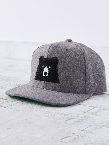 Melton Snapback Hat - Heather with Black Bear-North Standard Trading Post-Over the Rainbow