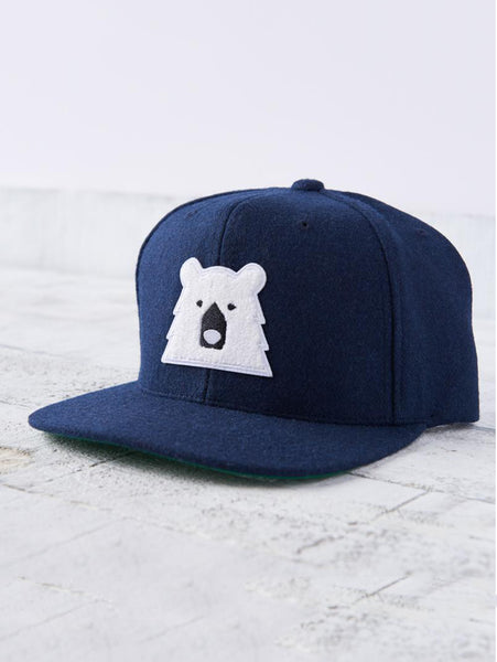 Melton Snapback Hat - Navy with Polar Bear-North Standard Trading Post-Over the Rainbow