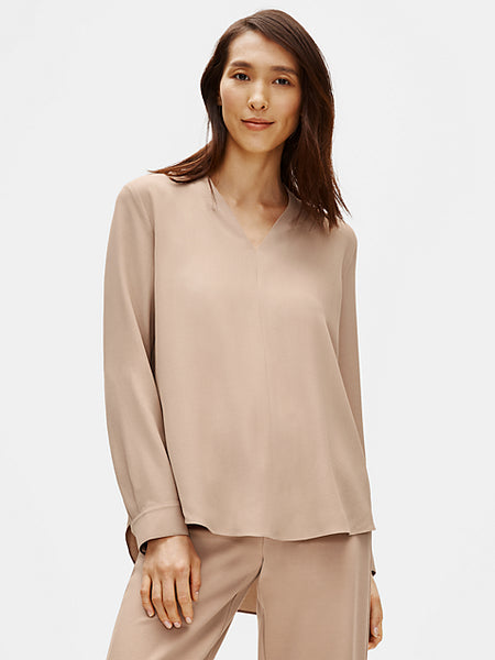 Georgette Crepe V Neck Long Sleeve Top-EILEEN FISHER-Over the Rainbow