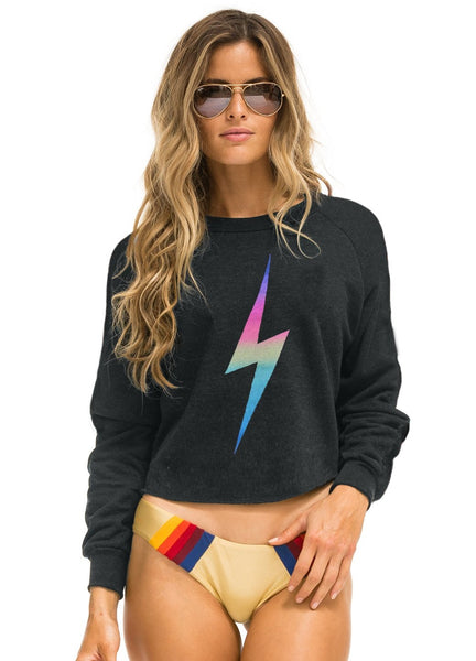 Bolt Crop Crew Sweatshirt - Charcoal/Rainbow Pink-AVIATOR NATION-Over the Rainbow