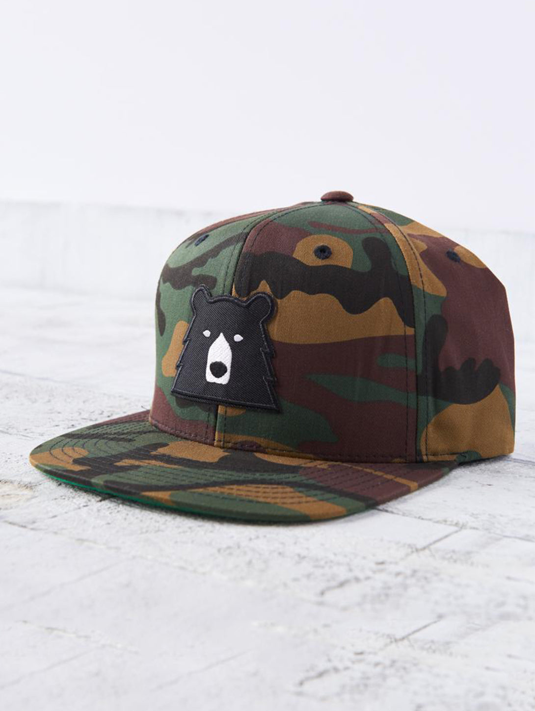 Melton Snapback Hat - Camo with Black Bear-North Standard Trading Post-Over the Rainbow