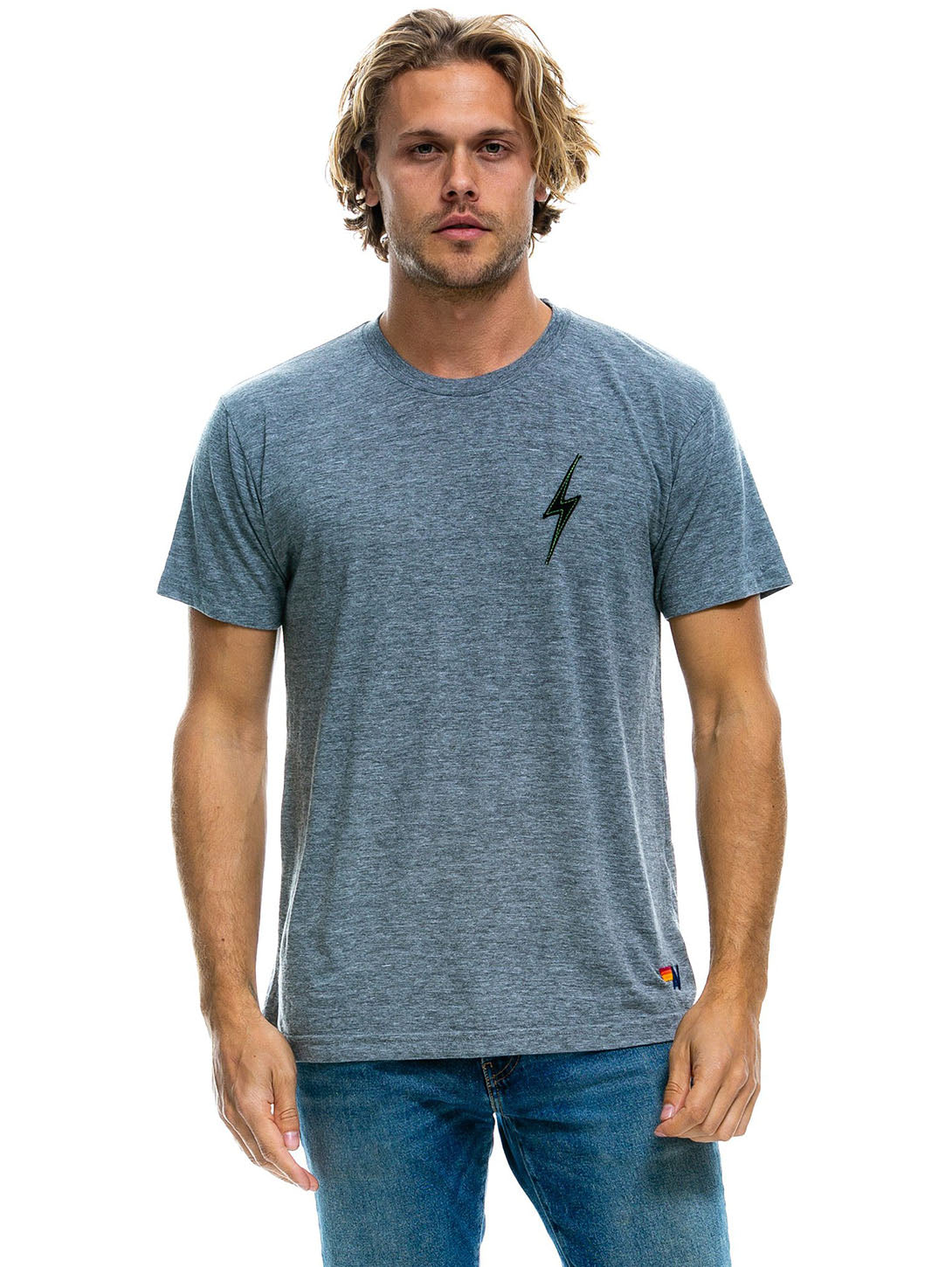 Bolt Stitch T-Shirt - Heather Grey-AVIATOR NATION-Over the Rainbow