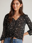 Petals Bishop Sleeve Tie Front Shirt - Black-Bella Dahl-Over the Rainbow