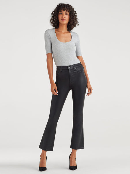 High Waist Coated Slim Kick Jean - Black-Seven for all Mankind-Over the Rainbow