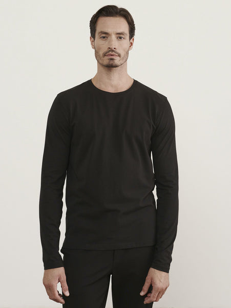 Pima Stretch Long Sleeve Crew Top-Patrick Assaraf-Over the Rainbow