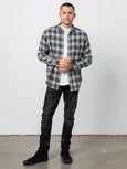 Lennox Button Down Plaid Shirt - Charcoal Heather Grey Cream-Rails-Over the Rainbow