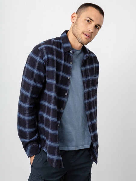 Lennox Button Down Plaid Shirt - Navy Heather Blue-Rails-Over the Rainbow