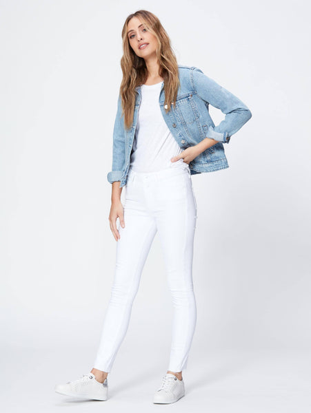 Hoxton Ankle Frayed Hem Skinny Jean - White-Paige-Over the Rainbow