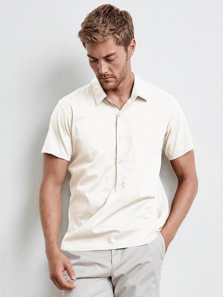 Burr Cotton Poplin Polo Shirt - Bone-Velvet-Over the Rainbow