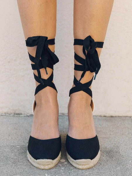 Classic Wedge Sandal - Black-SOLUDOS-Over the Rainbow