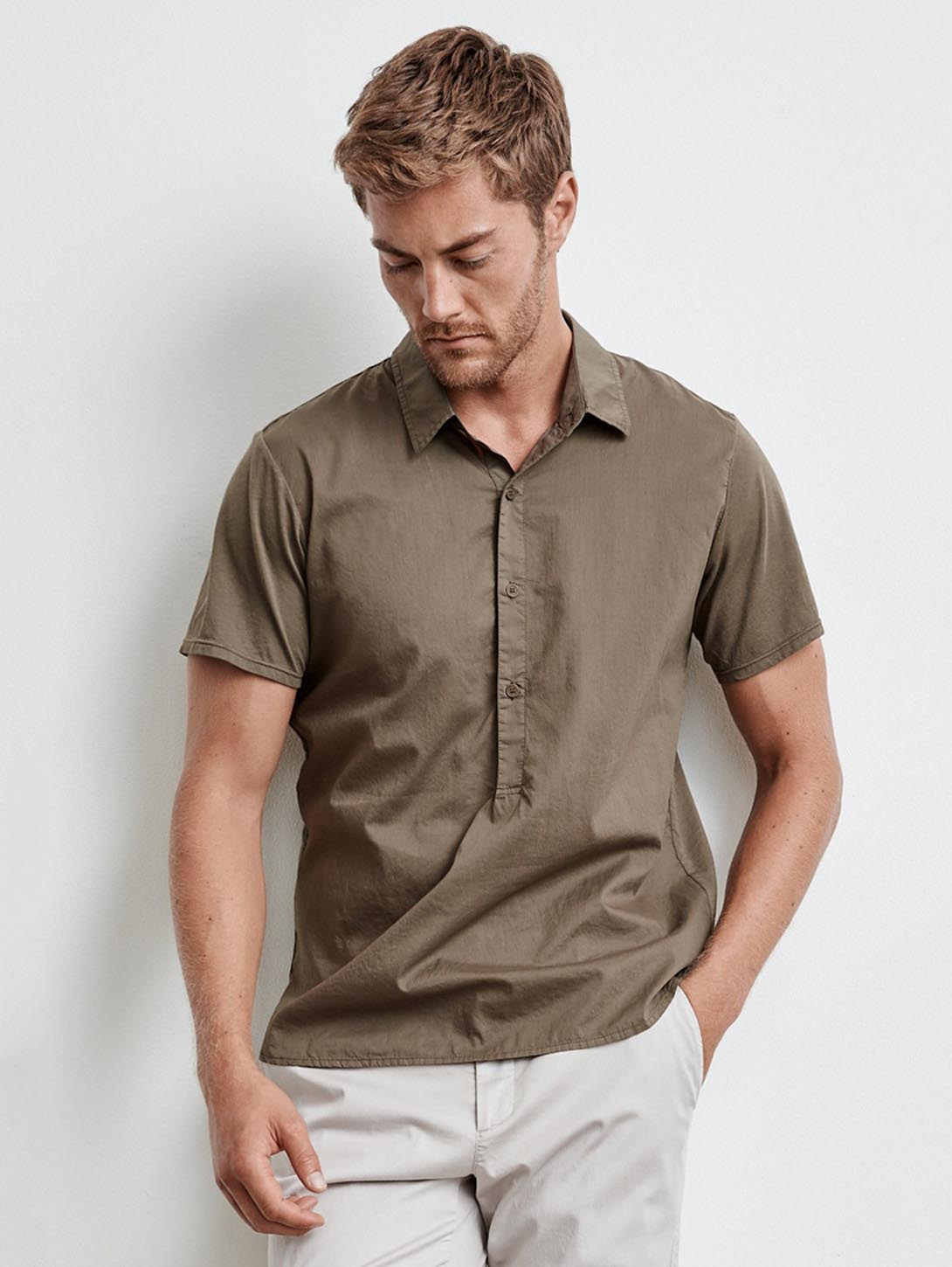 Burr Cotton Poplin Polo Shirt - Seaweed-Velvet-Over the Rainbow