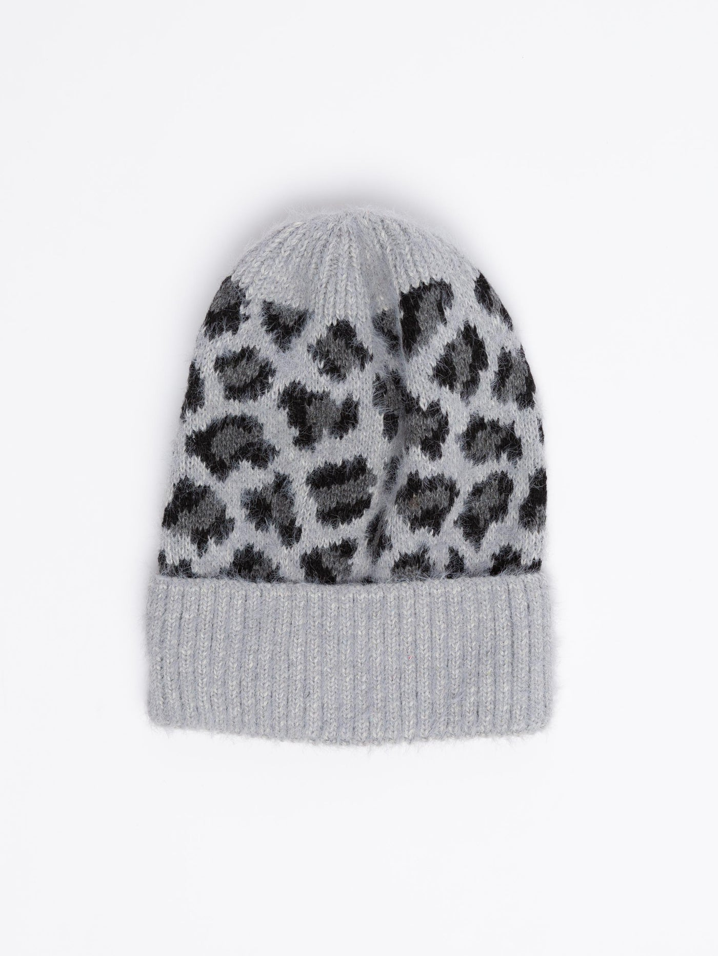 Acrylic Beanie - Leopard Grey-STYLED BY SARVI-Over the Rainbow