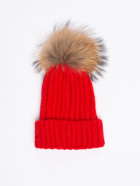 Acrylic Pom Toque - Red-STYLED BY SARVI-Over the Rainbow