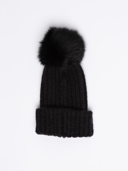 Acrylic Pom Toque - Black-STYLED BY SARVI-Over the Rainbow